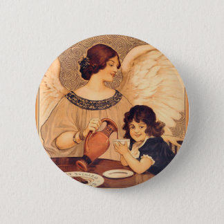 Cocoa Party Candy Angel Vintage Poster Pinback Button