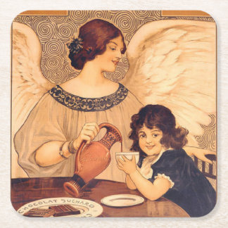 Cocoa Party Candy Angel Vintage Poster Square Paper Coaster