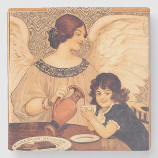 Cocoa Party Candy Angel Vintage Poster Stone Coaster