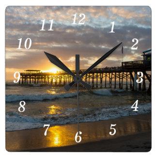 Cocoa Pier 1st Sunrise 2017 Square Wall Clock