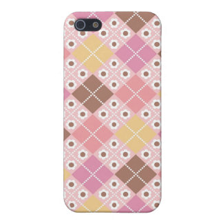 Cocoa & Pink Argyle Pattern iPhone4 Case