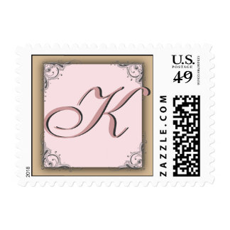 Cocoa pink Monogram Postage  Initial K