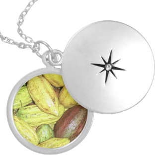 Cocoa pods locket necklace