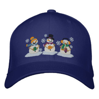 Cocoa Snowmen Embroidered Baseball Cap