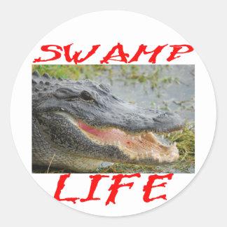 Cocodrilo 002 de la vida del pantano etiquetas redondas