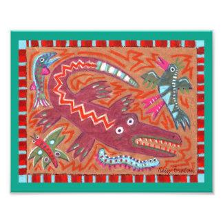 Cocodrilo abstracto del arte popular del zigzag cojinete