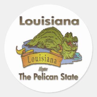 Cocodrilo del estado del pelícano de Luisiana Pegatina Redonda