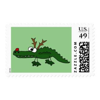 Cocodrilo divertido del navidad como reno timbres postales