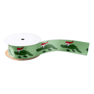 Cocodrilo divertido en cinta del navidad del gorra lazo de raso