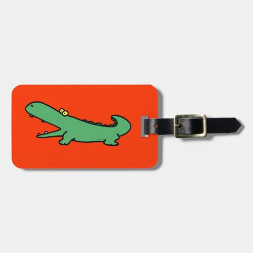 cocodrilo divertido etiqueta de equipaje