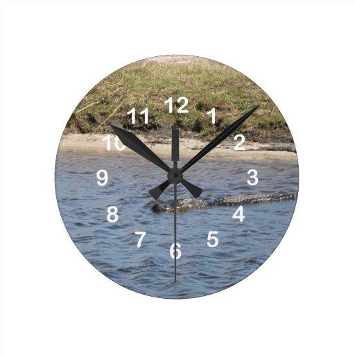 Cocodrilo en el reloj de pared del agua