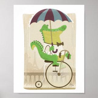 Cocodrilo en la bicicleta en París Póster