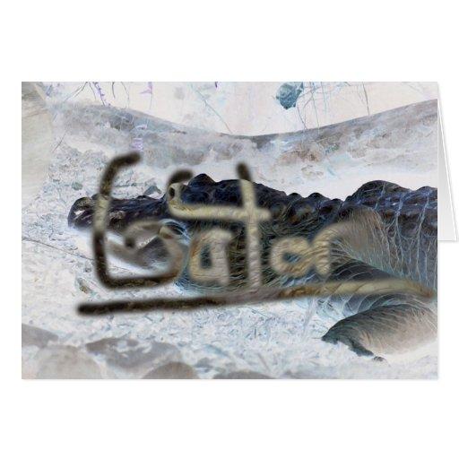 cocodrilo invertido con el cocodrilo de la palabra tarjeta pequeña