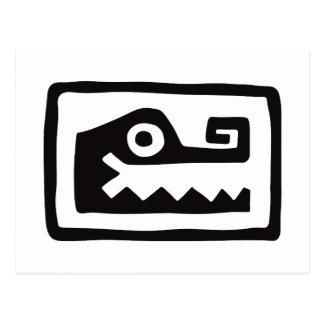 Cocodrilo, jeroglífico mexicano (maya) postal