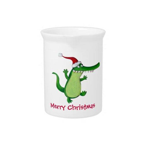 Cocodrilo lindo del navidad jarras para bebida