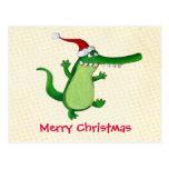 Cocodrilo lindo del navidad tarjetas postales