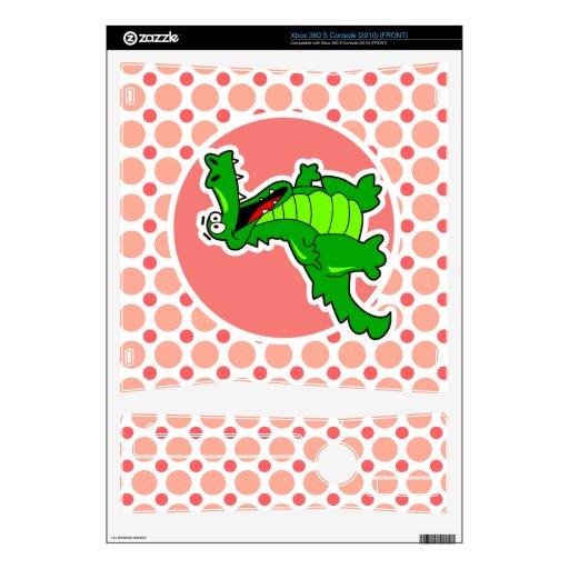 Cocodrilo; Lunares rosados y coralinos Xbox 360 S Calcomanía