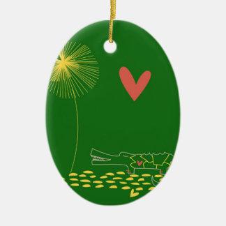 Cocodrilo minimalista con el corazón y la flor adorno navideño ovalado de cerámica