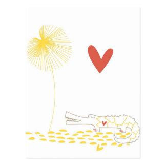 Cocodrilo minimalista con el corazón y la flor ama postal