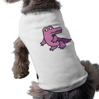 cocodrilo púrpura lindo playera sin mangas para perro