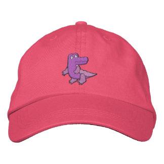 Cocodrilo púrpura rosado lindo pequeño gorra de beisbol bordada