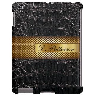 Cocodrilo y oro negro perforado del monograma el | funda para iPad