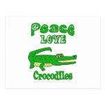 Cocodrilos del amor de la paz tarjeta postal