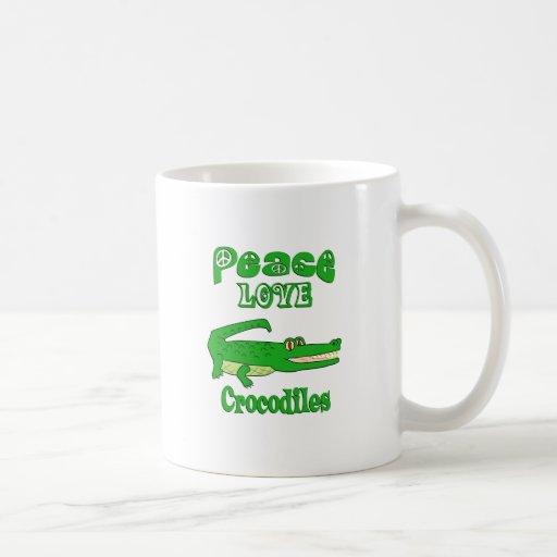 Cocodrilos del amor de la paz tazas de café