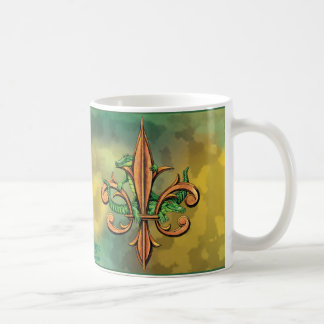 Cocodrilos y flor de lis taza clásica