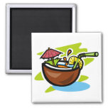 Coconut 2 Tropical Fruit Drink 2 Inch Square Magnet