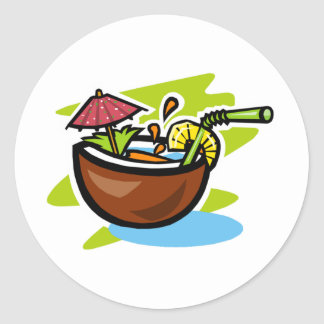 Coconut 2 Tropical Fruit Drink Classic Round Sticker