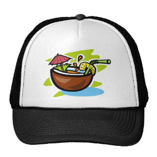 Coconut 2 Tropical Fruit Drink Mesh Hats