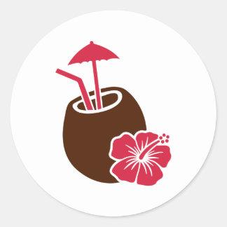Coconut cocktail hibiscus classic round sticker