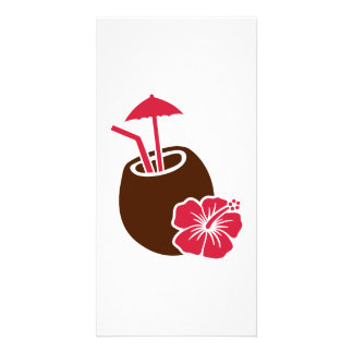 Coconut cocktail hibiscus photo cards