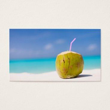 Beach Themed Coconut cocktail on the beach business card
