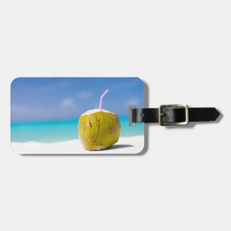Coconut cocktail on the beach tag for luggage