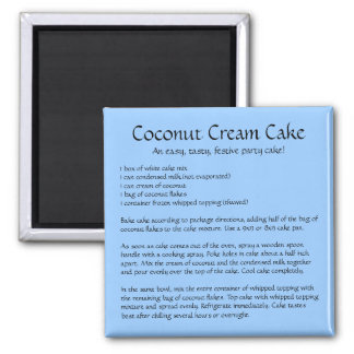 Coconut Cream Cake Recipe on a Magnet