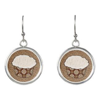 Coconut Cupcake, Japanese Swirl Background Earrings