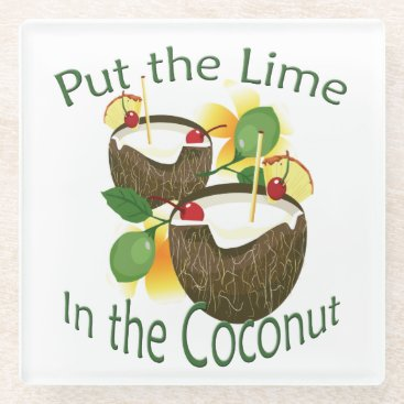 Hawaiian Themed Coconut Drink Tiki Bar Glass Coaster