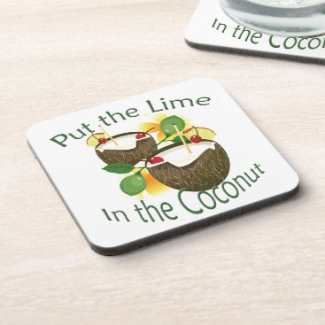 Hawaiian Themed Coconut Drink Tiki Bar Luau Plastic Coaster