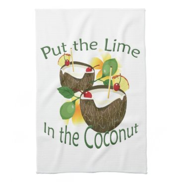 Hawaiian Themed Coconut Drink Tiki Bar Towel