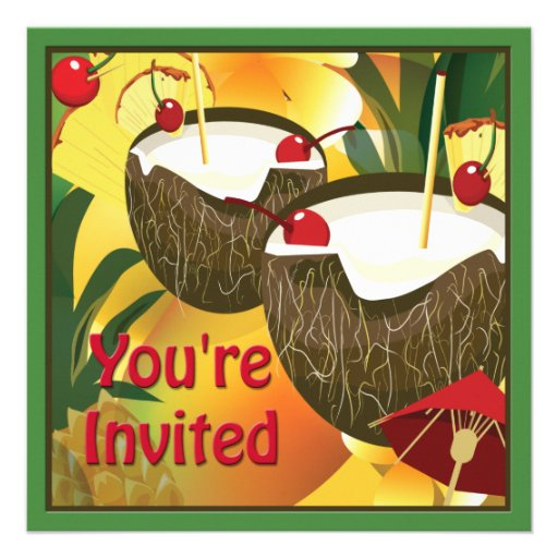 Coconut Drinks Luau Party Invitation