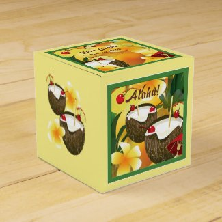 Coconut Drinks Luau Party Party Favor Box