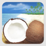 Coconut Getaway Square Sticker