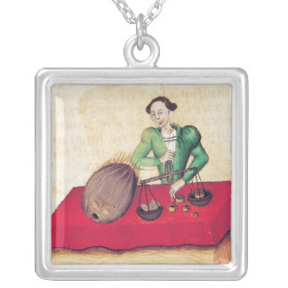 Coconut Merchant from the 'Tractatus de Silver Plated Necklace