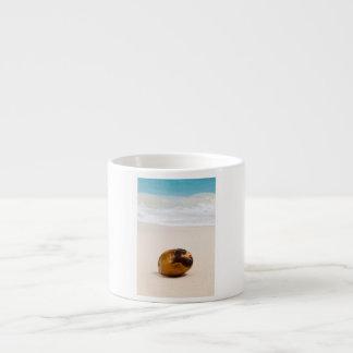Coconut on a tropical beach espresso cup
