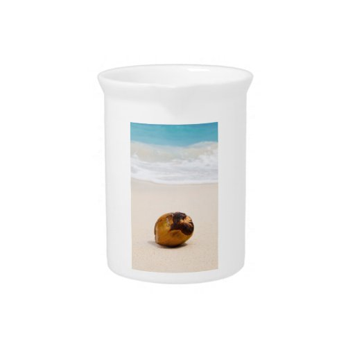 Coconut on a tropical beach pitcher