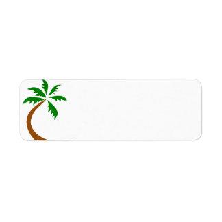 coconut-palm-312154 coconut palm tree curved twist return address label