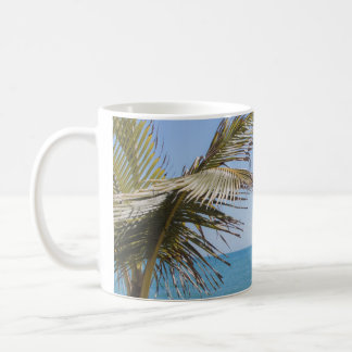 Coconut Palm and Blue Sea Beach Photography Coffee Mug
