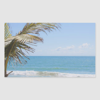 Coconut Palm and Blue Sea Beach Photography Rectangular Sticker